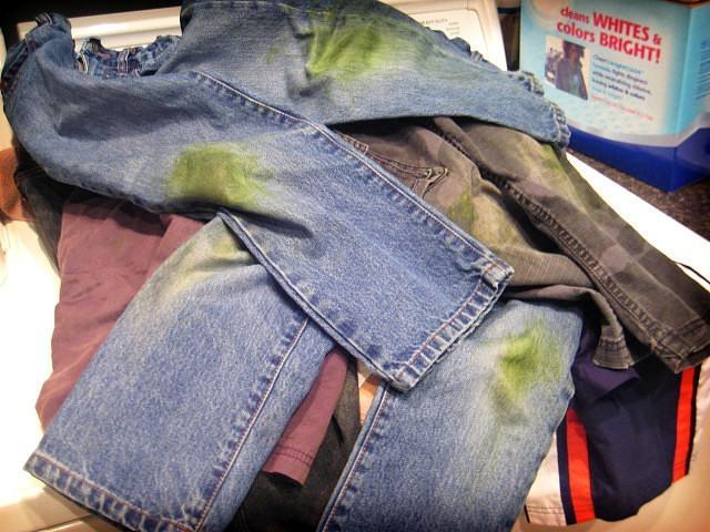 Чем вывести старое пятно от травы с джинсов фото